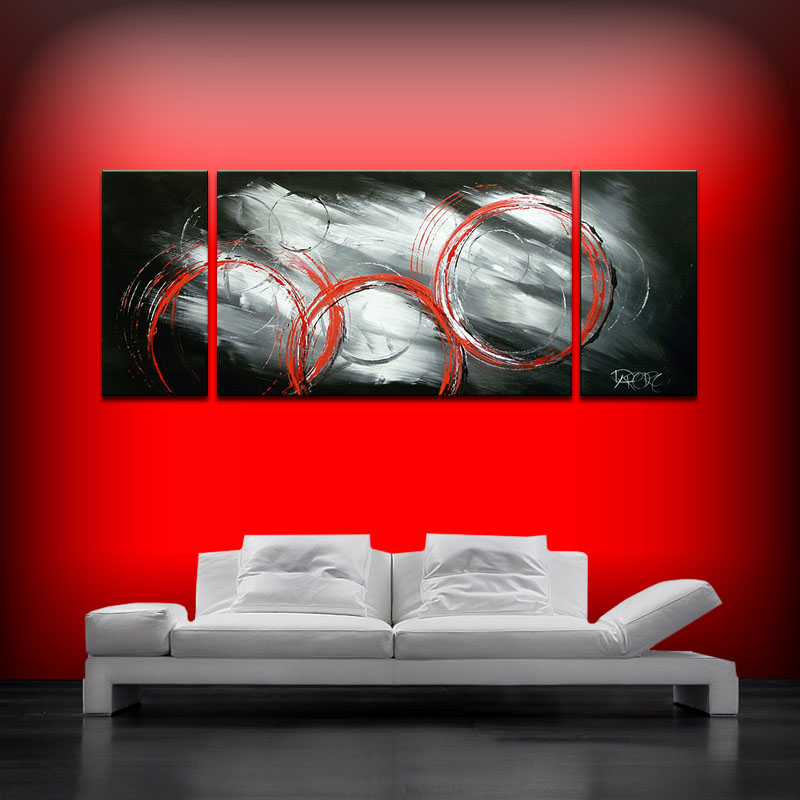 Sofa size paintings contemporary original abstract art for Black white canvas paintings