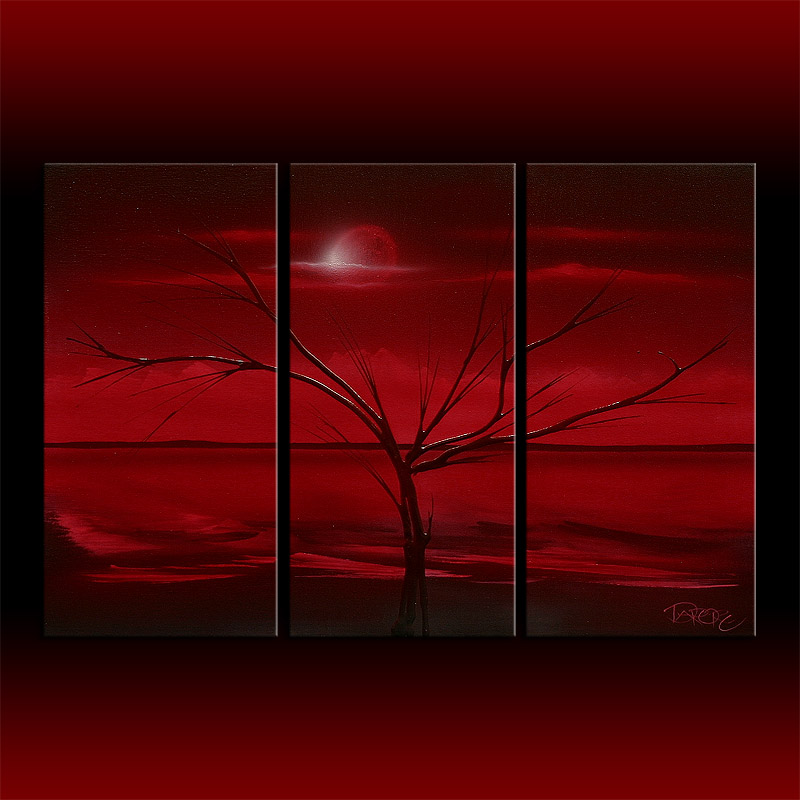 Red abstract theo dapore red landscape black red art original