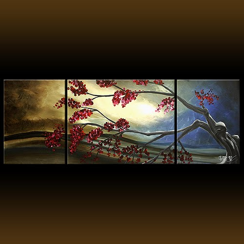 Autumn Sunset Landscape Painting 315 Tree With Leaves Large Brown Triptych
