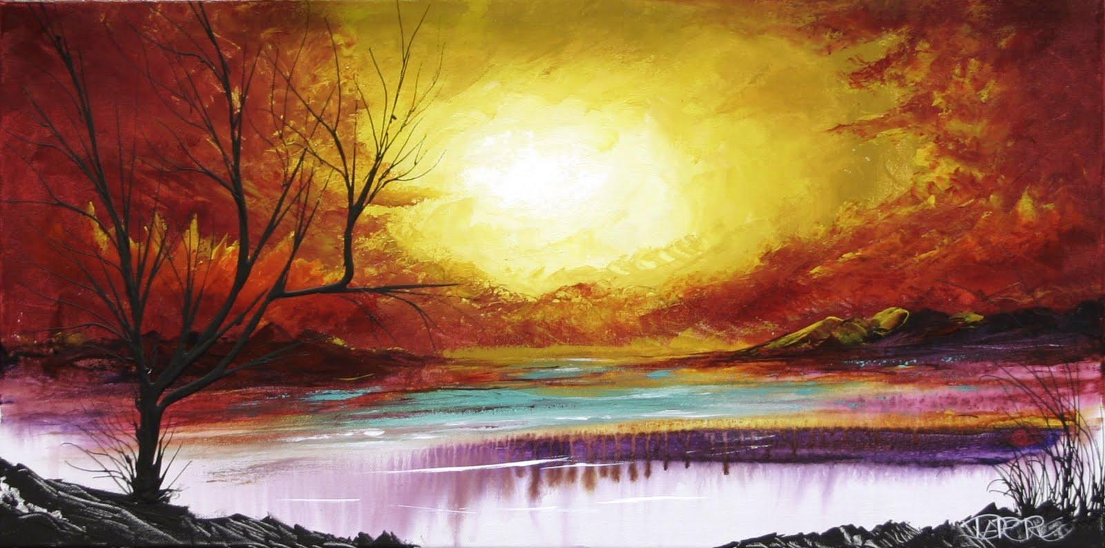 Red orange yellow Autumn tree Painting Canvas Art Modern ...