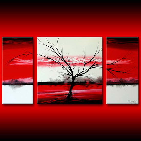 Wall Art Canvas Red : Red white three canvas wall art large painting dapore s
