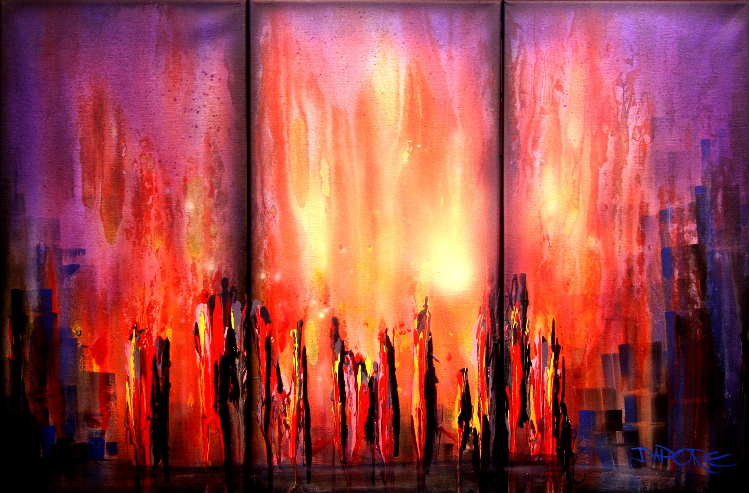 Original abstract contemporary art painting by theo dapore for Contemporary mural artists