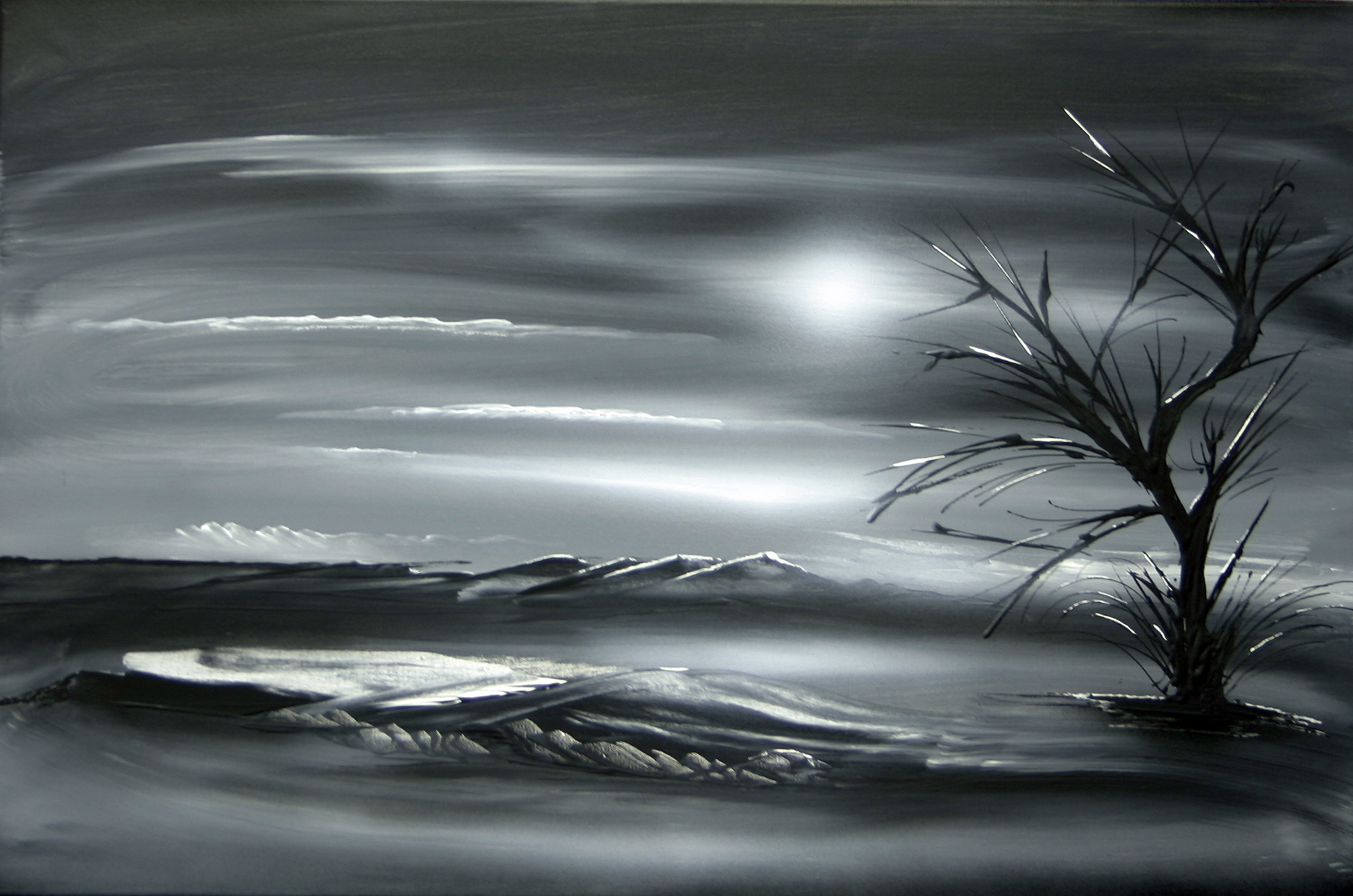 Landscape 408 original black white acryic on canvas painting